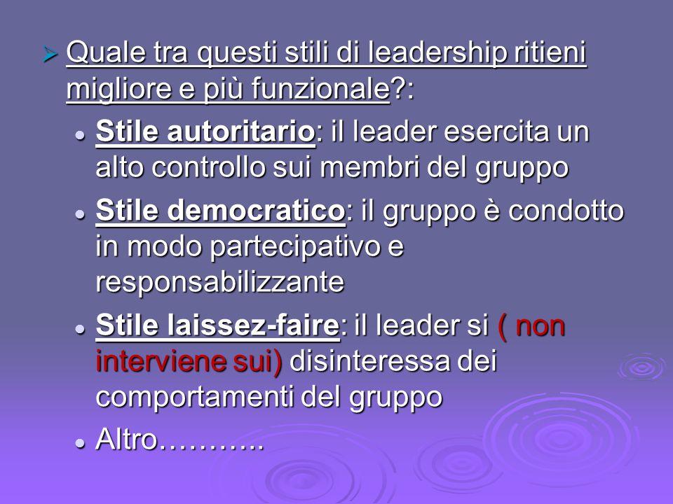 Quale tra questi stili di leadership ritieni migliore e più funzionale?: Quale tra questi stili di leadership ritieni migliore e più funzionale?: Stil