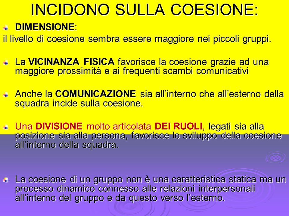 INCIDONO SULLA COESIONE: DIMENSIONE: il livello di coesione sembra essere maggiore nei piccoli gruppi. La VICINANZA FISICA favorisce la coesione grazi