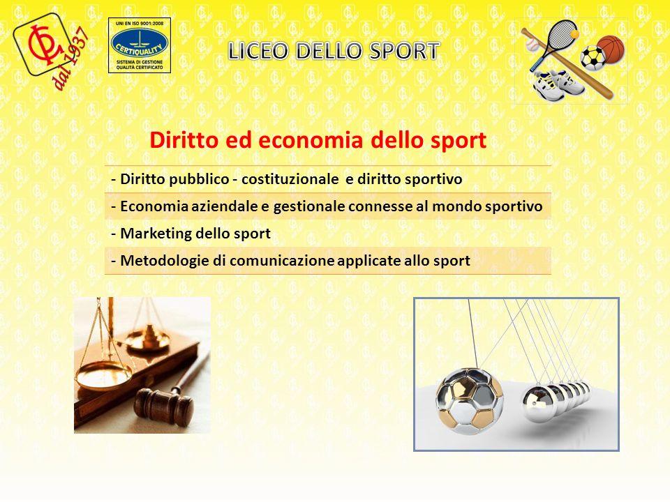 Diritto ed economia dello sport - Diritto pubblico - costituzionale e diritto sportivo - Economia aziendale e gestionale connesse al mondo sportivo - Marketing dello sport - Metodologie di comunicazione applicate allo sport