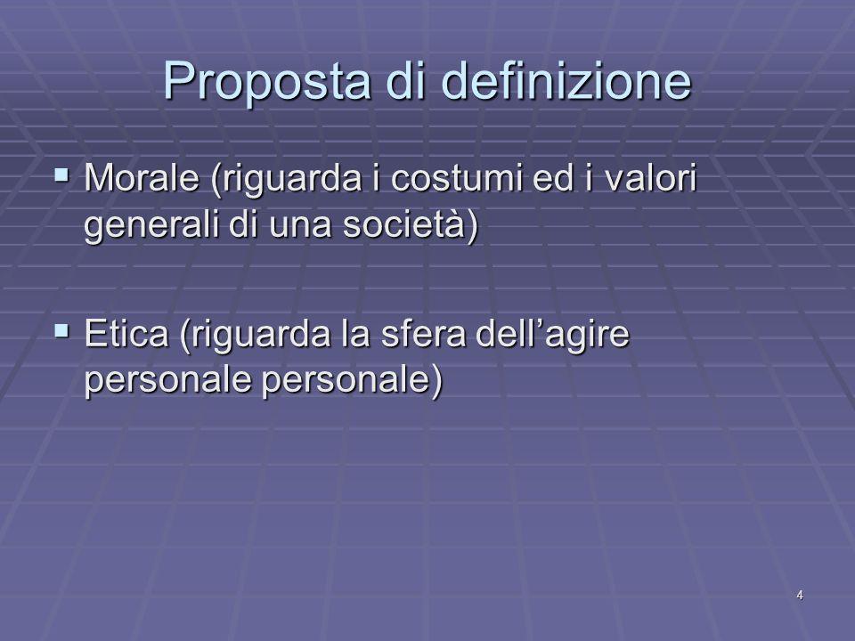 4 Proposta di definizione Morale (riguarda i costumi ed i valori generali di una società) Morale (riguarda i costumi ed i valori generali di una società) Etica (riguarda la sfera dellagire personale personale) Etica (riguarda la sfera dellagire personale personale)