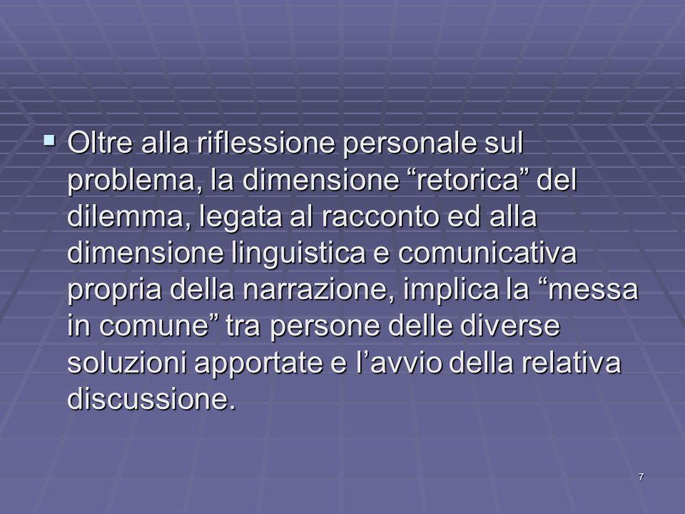 8 Lo scopo dei dilemmi è quello di creare un conflitto cognitivo dei valori che vengono messi in discussione e di cui deve essere sempre chiara la contrapposizione.