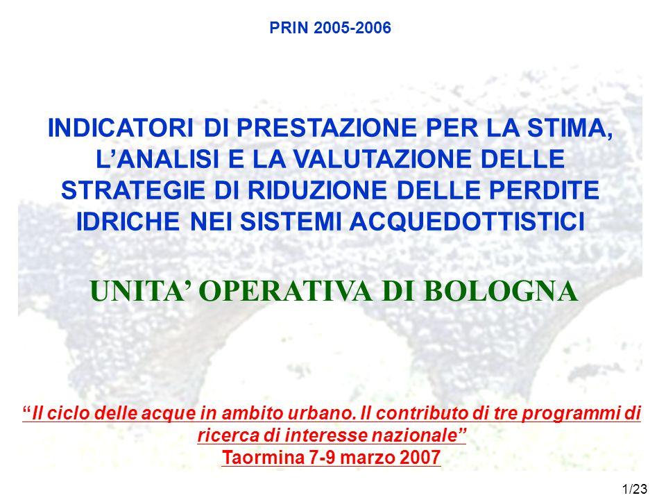 1/23 PRIN 2005-2006 UNITA OPERATIVA DI BOLOGNA INDICATORI DI PRESTAZIONE PER LA STIMA, LANALISI E LA VALUTAZIONE DELLE STRATEGIE DI RIDUZIONE DELLE PE
