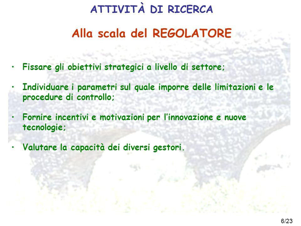 6/23 ATTIVITÀ DI RICERCA Fissare gli obiettivi strategici a livello di settore; Individuare i parametri sul quale imporre delle limitazioni e le proce