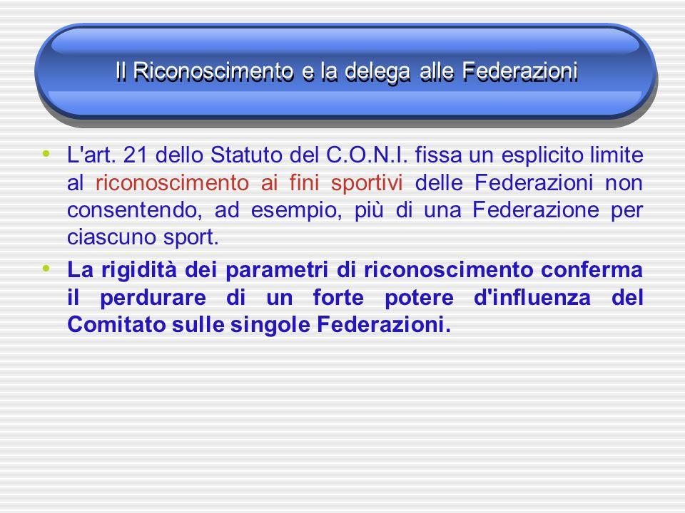 Il Riconoscimento e la delega alle Federazioni L'art. 21 dello Statuto del C.O.N.I. fissa un esplicito limite al riconoscimento ai fini sportivi delle