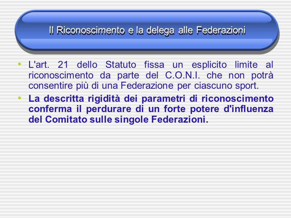 Il Riconoscimento e la delega alle Federazioni L'art. 21 dello Statuto fissa un esplicito limite al riconoscimento da parte del C.O.N.I. che non potrà