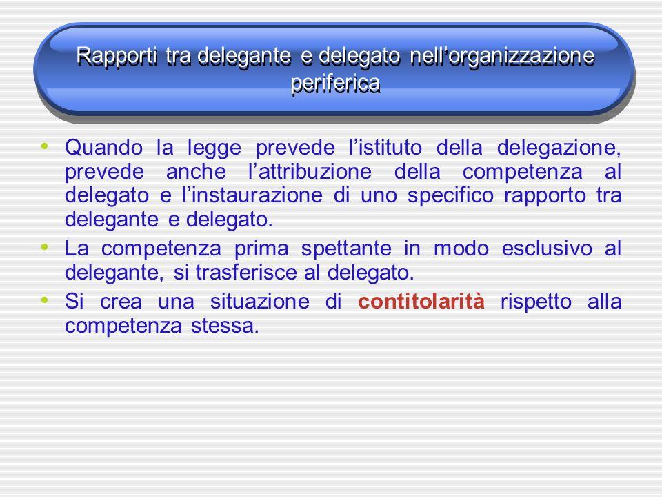 Rapporti tra delegante e delegato nellorganizzazione periferica Quando la legge prevede listituto della delegazione, prevede anche lattribuzione della