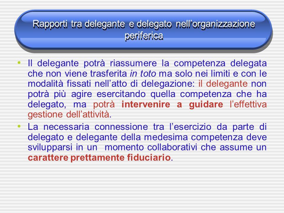 Rapporti tra delegante e delegato nellorganizzazione periferica Il delegante potrà riassumere la competenza delegata che non viene trasferita in toto