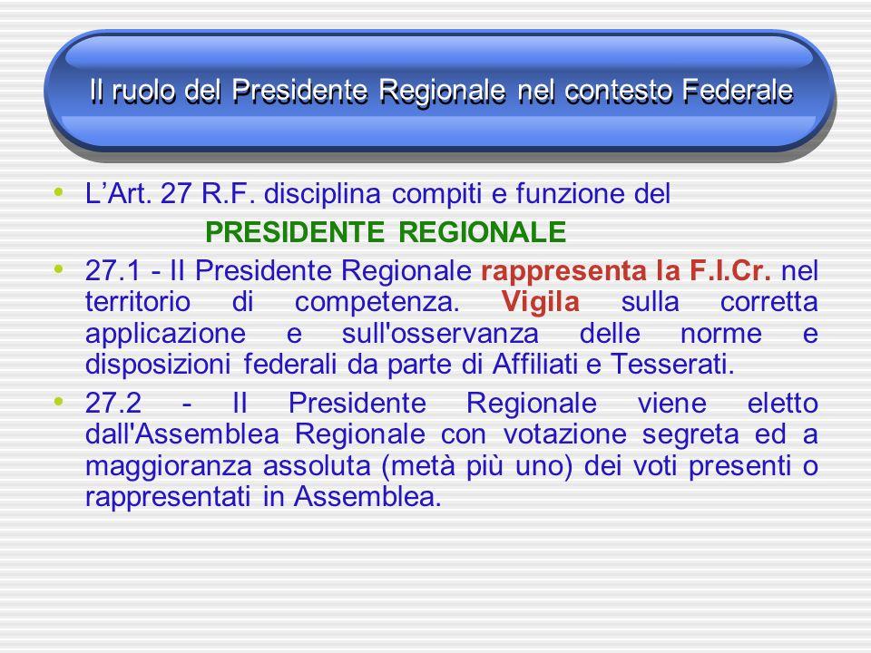 Il ruolo del Presidente Regionale nel contesto Federale LArt. 27 R.F. disciplina compiti e funzione del PRESIDENTE REGIONALE 27.1 - II Presidente Regi