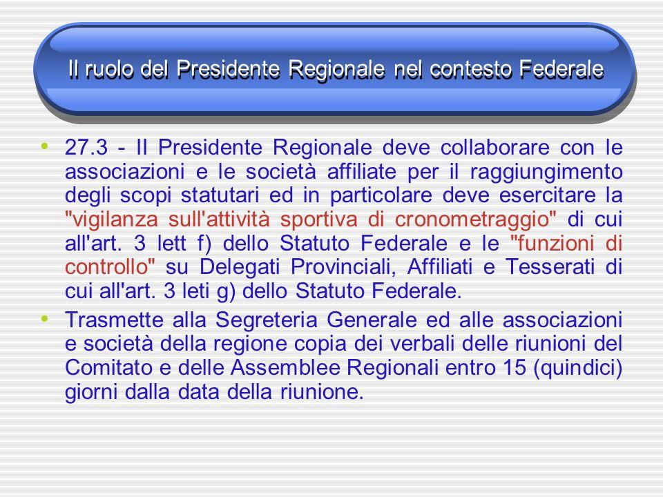 Il ruolo del Presidente Regionale nel contesto Federale 27.3 - II Presidente Regionale deve collaborare con le associazioni e le società affiliate per