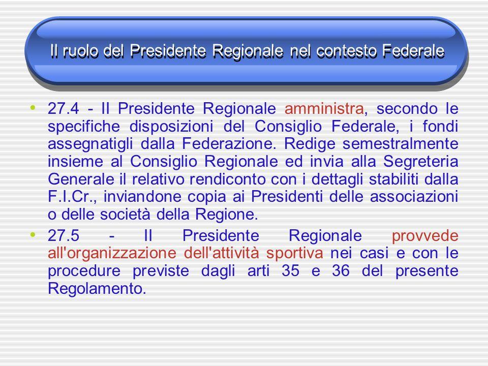 Il ruolo del Presidente Regionale nel contesto Federale 27.4 - II Presidente Regionale amministra, secondo le specifiche disposizioni del Consiglio Federale, i fondi assegnatigli dalla Federazione.