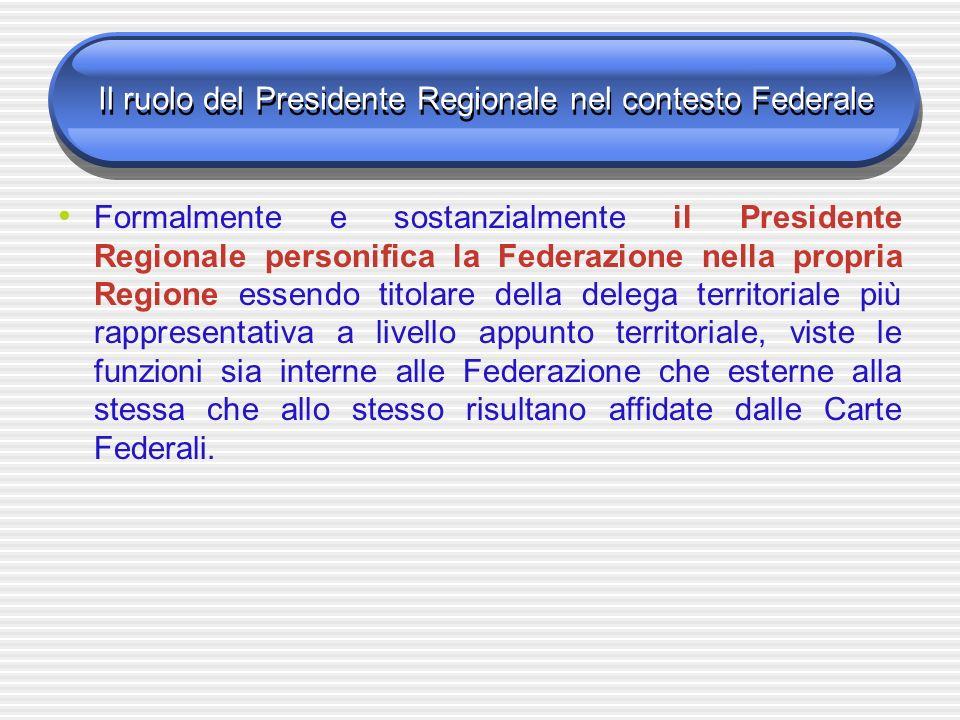 Il ruolo del Presidente Regionale nel contesto Federale Formalmente e sostanzialmente il Presidente Regionale personifica la Federazione nella propria