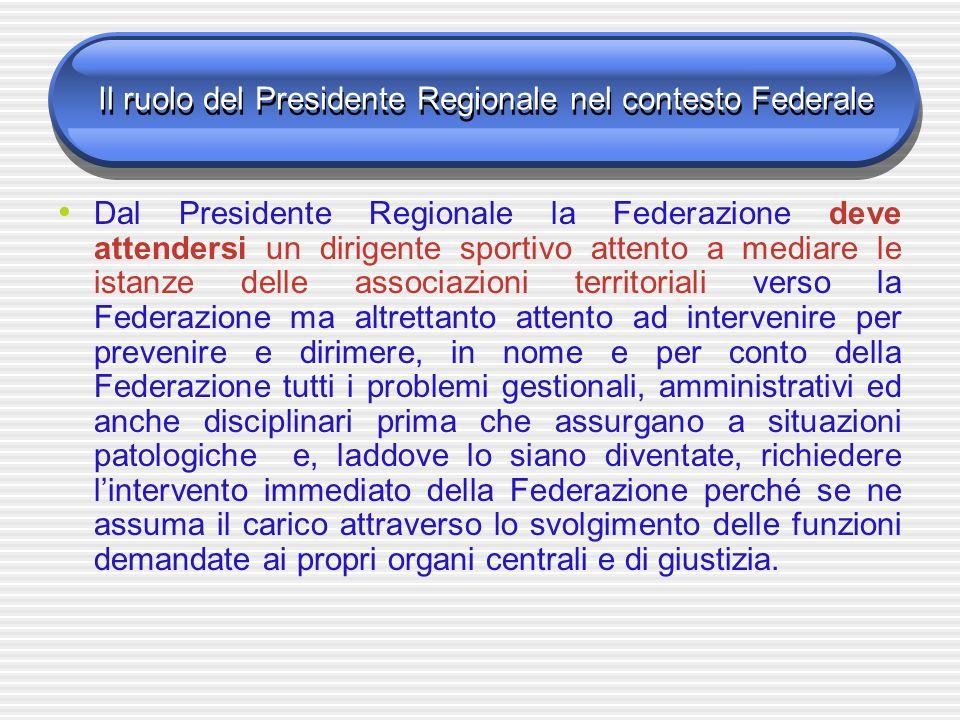 Il ruolo del Presidente Regionale nel contesto Federale Dal Presidente Regionale la Federazione deve attendersi un dirigente sportivo attento a mediar