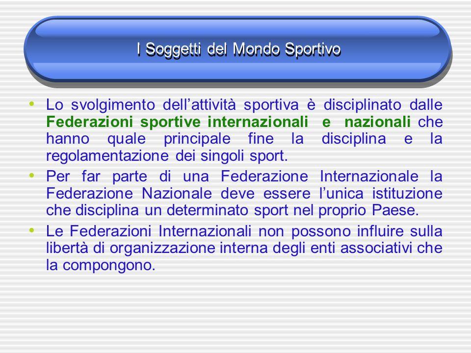 I Soggetti del Mondo Sportivo Lo svolgimento dellattività sportiva è disciplinato dalle Federazioni sportive internazionali e nazionali che hanno quale principale fine la disciplina e la regolamentazione dei singoli sport.