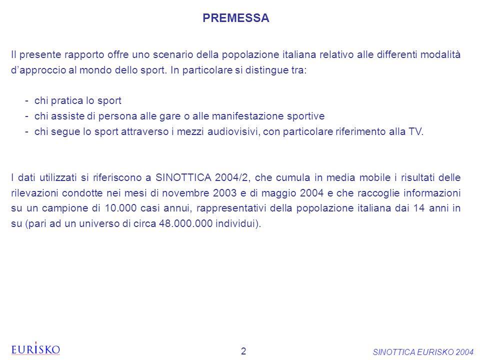 2 SINOTTICA EURISKO 2004 Il presente rapporto offre uno scenario della popolazione italiana relativo alle differenti modalità dapproccio al mondo dell