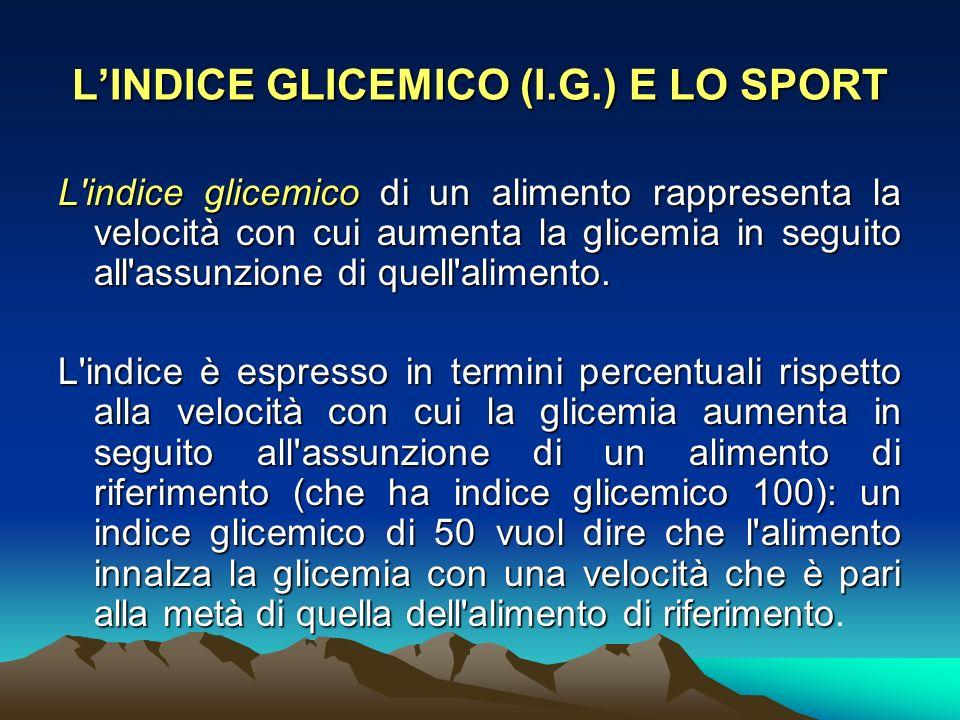 L'indice glicemico di un alimento rappresenta la velocità con cui aumenta la glicemia in seguito all'assunzione di quell'alimento. L'indice è espresso