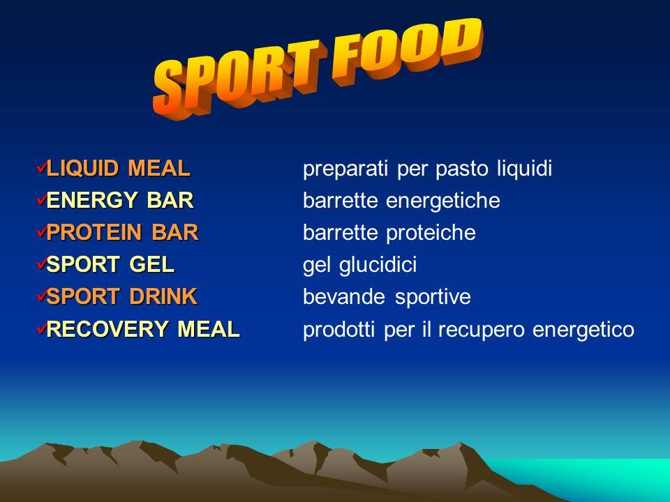LIQUID MEAL LIQUID MEALpreparati per pasto liquidi ENERGY BAR ENERGY BARbarrette energetiche PROTEIN BAR PROTEIN BARbarrette proteiche SPORT GEL SPORT