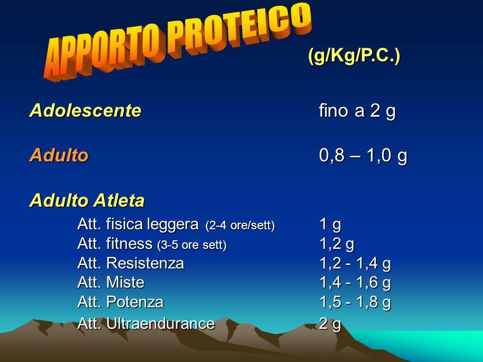 (g/Kg/P.C.) Adolescentefino a 2 g Adulto0,8 – 1,0 g Adulto Atleta Att. fisica leggera (2-4 ore/sett) 1 g Att. fitness (3-5 ore sett) 1,2 g Att. Resist