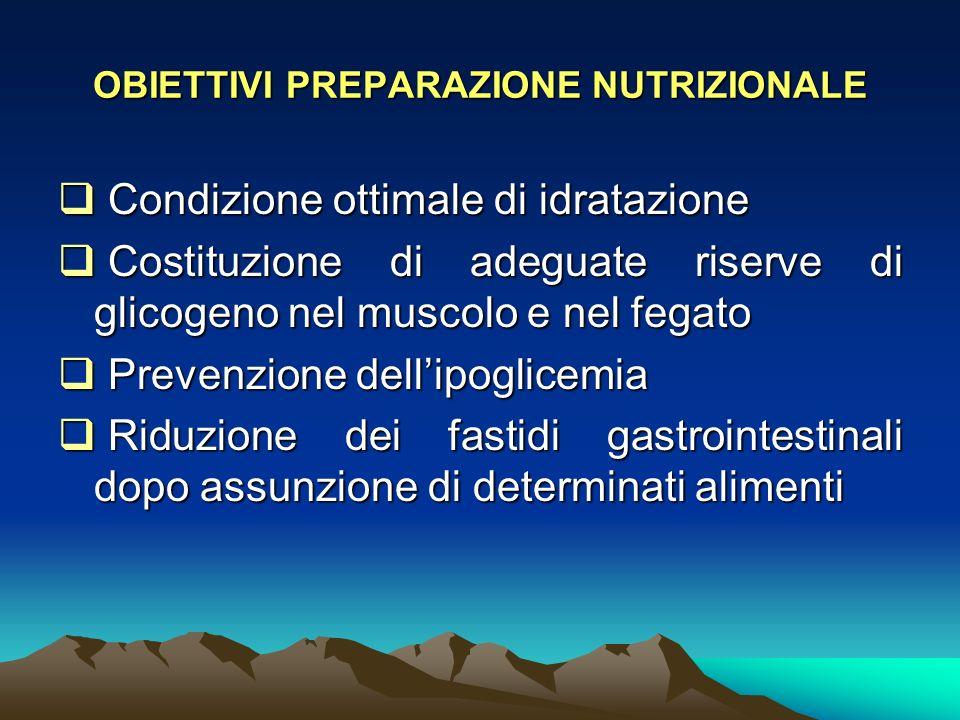 Condizione ottimale di idratazione Condizione ottimale di idratazione Costituzione di adeguate riserve di glicogeno nel muscolo e nel fegato Costituzi
