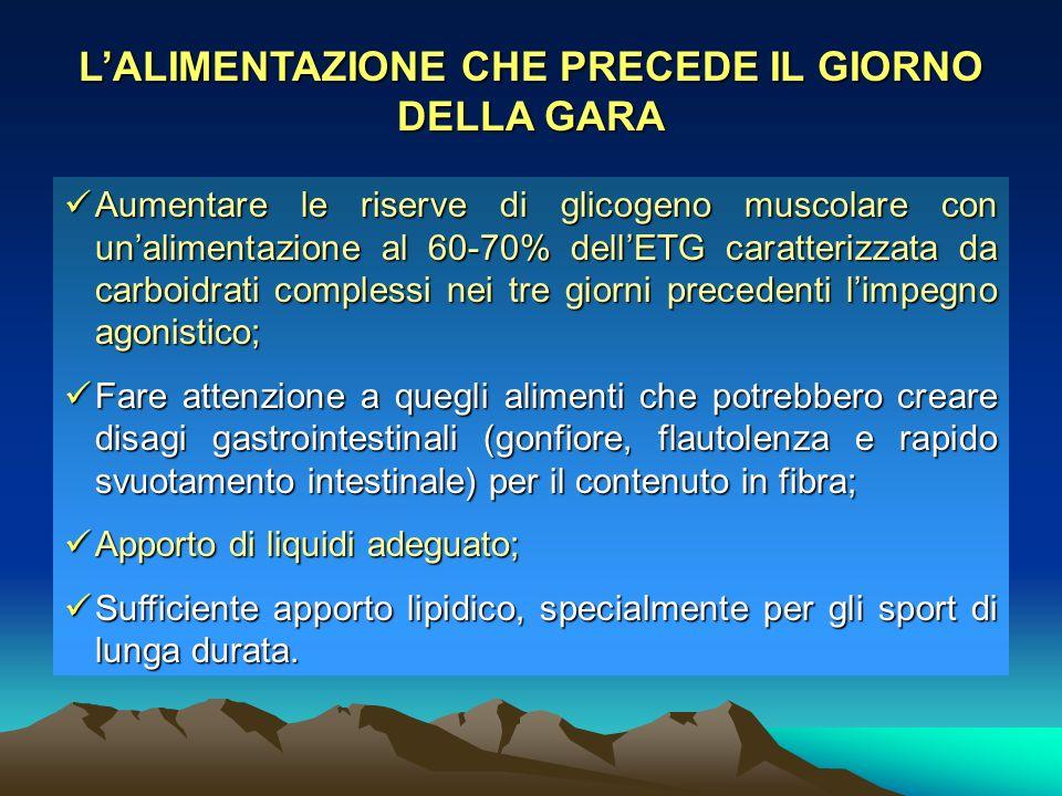 LALIMENTAZIONE CHE PRECEDE IL GIORNO DELLA GARA Aumentare le riserve di glicogeno muscolare con unalimentazione al 60-70% dellETG caratterizzata da ca