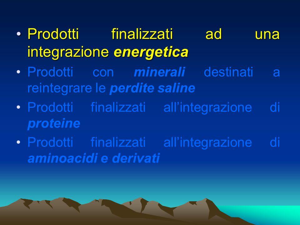 Prodotti finalizzati ad una integrazione energeticaProdotti finalizzati ad una integrazione energetica Prodotti con minerali destinati a reintegrare l