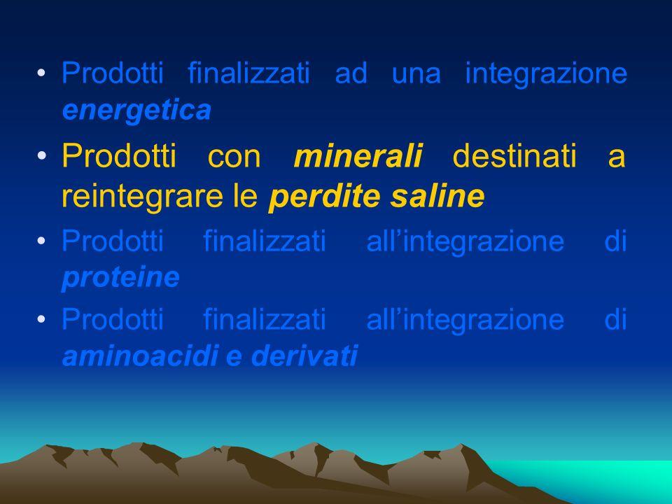 Prodotti finalizzati ad una integrazione energetica Prodotti con minerali destinati a reintegrare le perdite saline Prodotti finalizzati allintegrazio