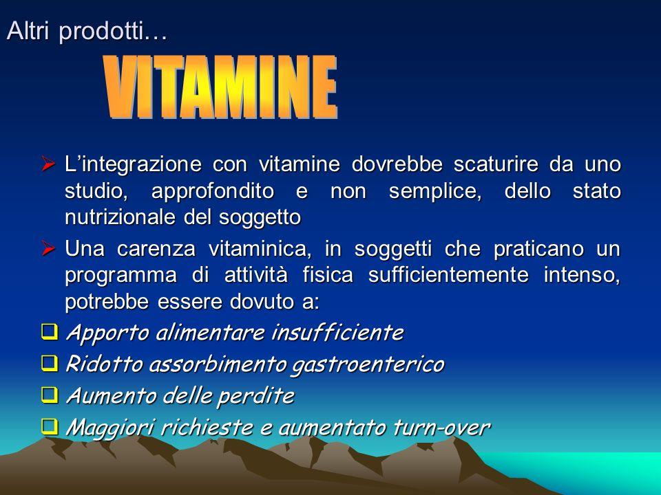 Altri prodotti… Lintegrazione con vitamine dovrebbe scaturire da uno studio, approfondito e non semplice, dello stato nutrizionale del soggetto Linteg