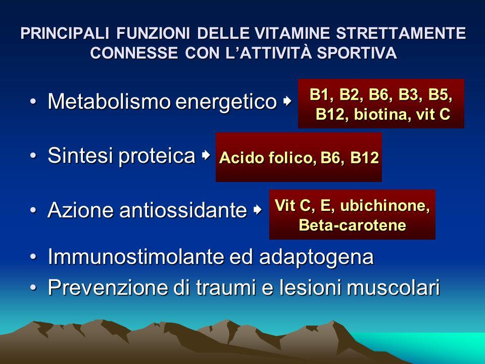 PRINCIPALI FUNZIONI DELLE VITAMINE STRETTAMENTE CONNESSE CON LATTIVITÀ SPORTIVA Metabolismo energeticoMetabolismo energetico Sintesi proteicaSintesi p