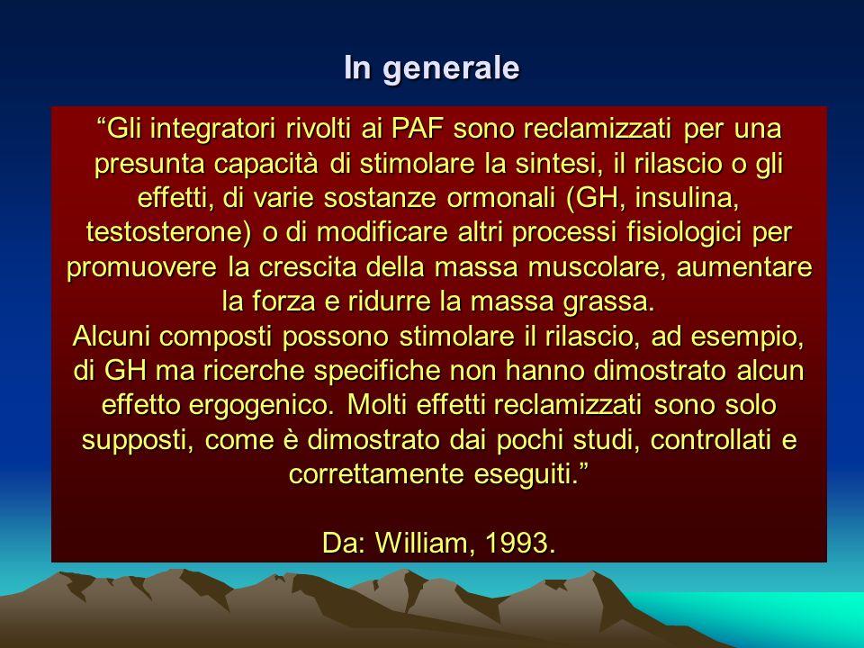 In generale Gli integratori rivolti ai PAF sono reclamizzati per una presunta capacità di stimolare la sintesi, il rilascio o gli effetti, di varie so
