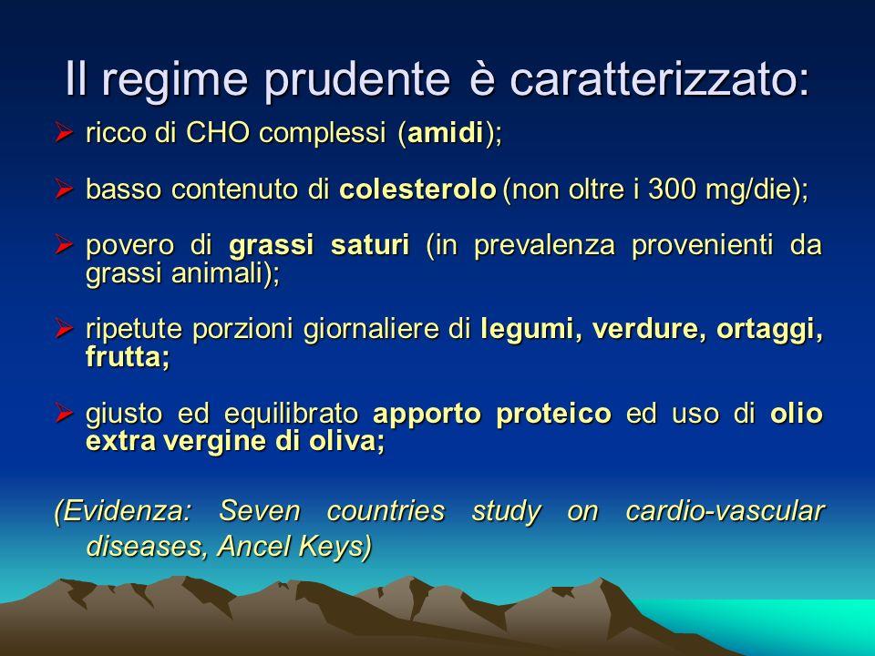 Il regime prudente è caratterizzato: ricco di CHO complessi (amidi); ricco di CHO complessi (amidi); basso contenuto di colesterolo (non oltre i 300 m