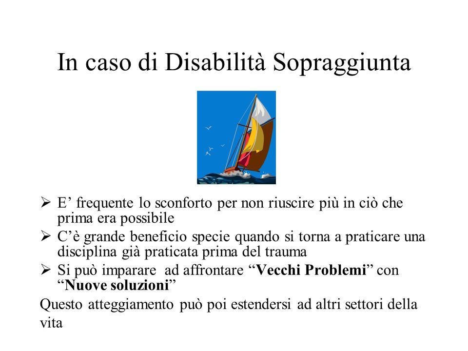 In caso di Disabilità Sopraggiunta E frequente lo sconforto per non riuscire più in ciò che prima era possibile Cè grande beneficio specie quando si t