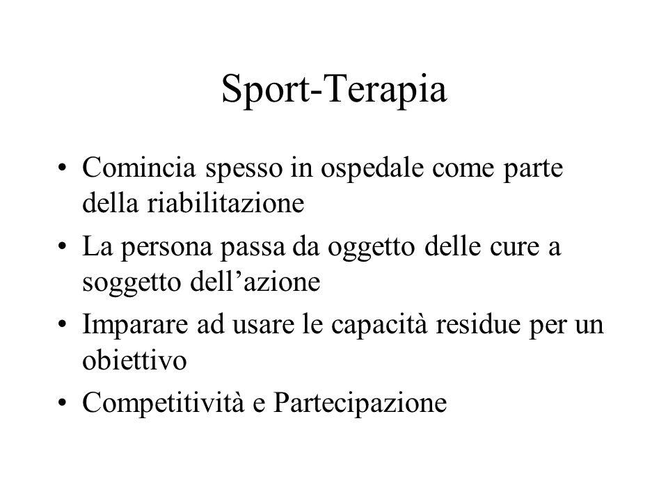 Sport-Terapia Comincia spesso in ospedale come parte della riabilitazione La persona passa da oggetto delle cure a soggetto dellazione Imparare ad usa