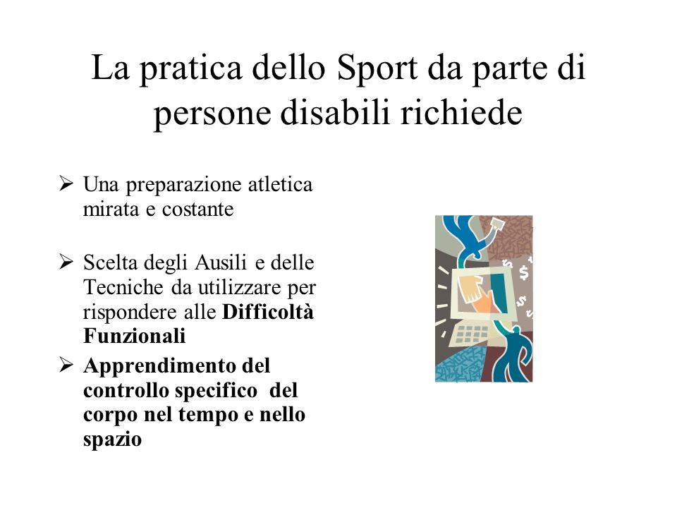 La pratica dello Sport da parte di persone disabili richiede Una preparazione atletica mirata e costante Scelta degli Ausili e delle Tecniche da utili