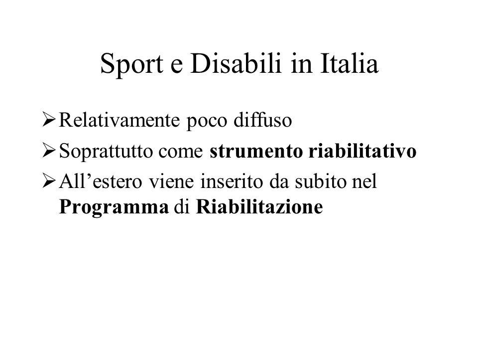 Sport e Disabili in Italia Relativamente poco diffuso Soprattutto come strumento riabilitativo Allestero viene inserito da subito nel Programma di Ria