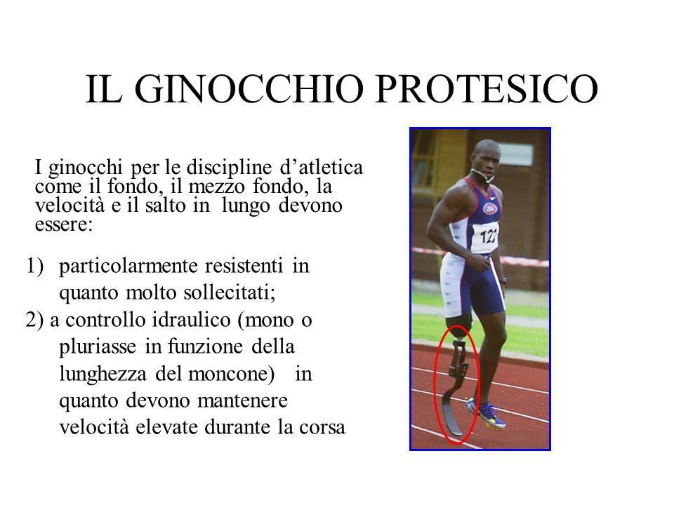 IL GINOCCHIO PROTESICO I ginocchi per le discipline datletica come il fondo, il mezzo fondo, la velocità e il salto in lungo devono essere: 1)particol