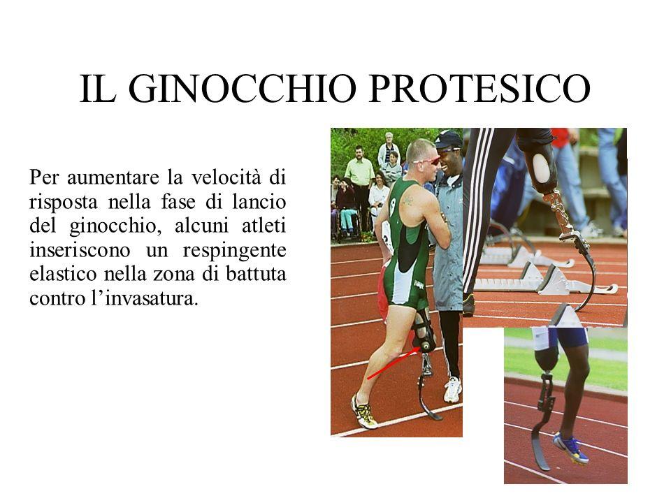 IL GINOCCHIO PROTESICO Per aumentare la velocità di risposta nella fase di lancio del ginocchio, alcuni atleti inseriscono un respingente elastico nel