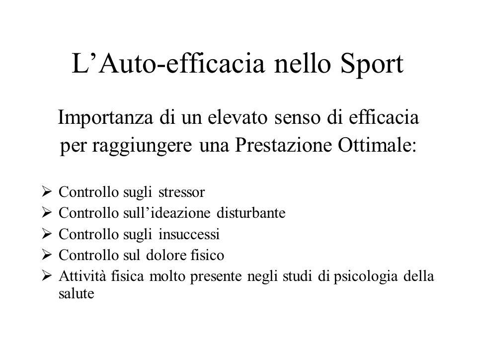 LAuto-efficacia nello Sport Importanza di un elevato senso di efficacia per raggiungere una Prestazione Ottimale: Controllo sugli stressor Controllo s