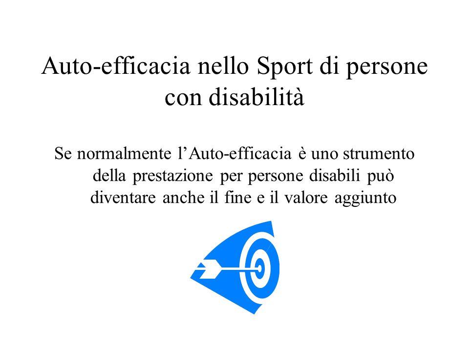 Auto-efficacia nello Sport di persone con disabilità Se normalmente lAuto-efficacia è uno strumento della prestazione per persone disabili può diventa