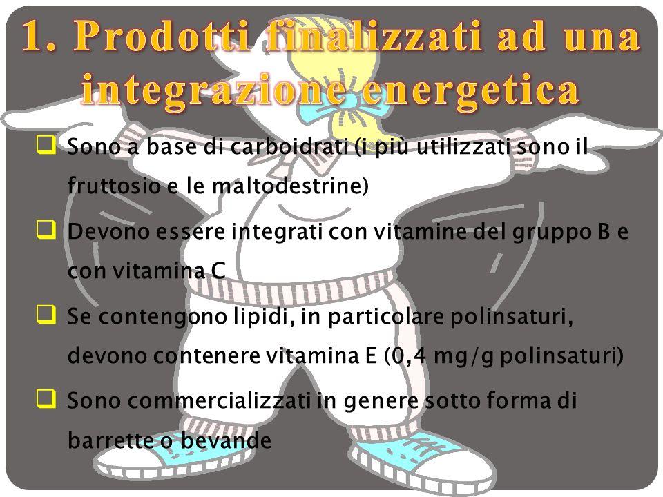 Sono a base di carboidrati (i più utilizzati sono il fruttosio e le maltodestrine) Devono essere integrati con vitamine del gruppo B e con vitamina C