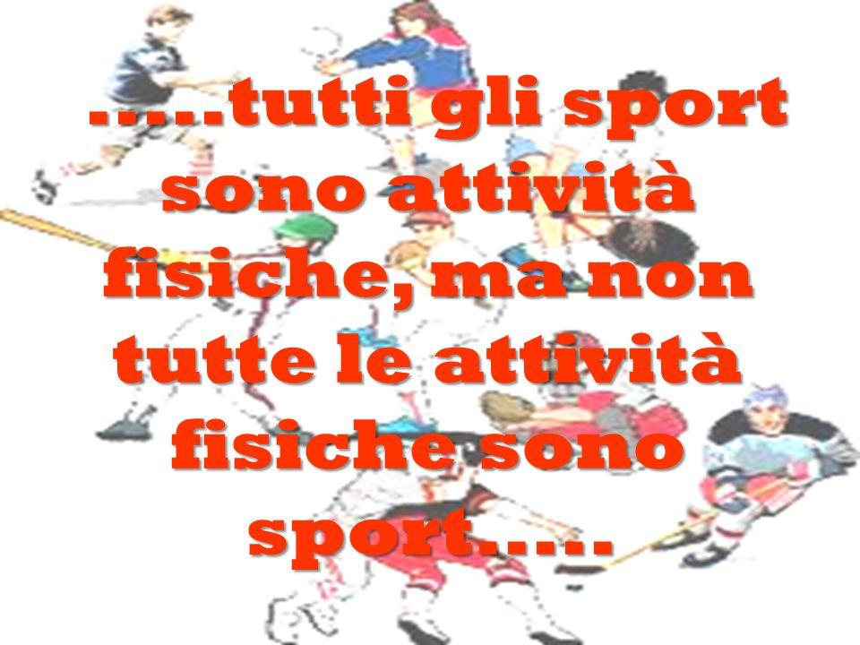 .....tutti gli sport sono attività fisiche, ma non tutte le attività fisiche sono sport..........tutti gli sport sono attività fisiche, ma non tutte l