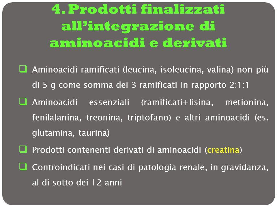4. Prodotti finalizzati allintegrazione di aminoacidi e derivati Aminoacidi ramificati (leucina, isoleucina, valina) non più di 5 g come somma dei 3 r