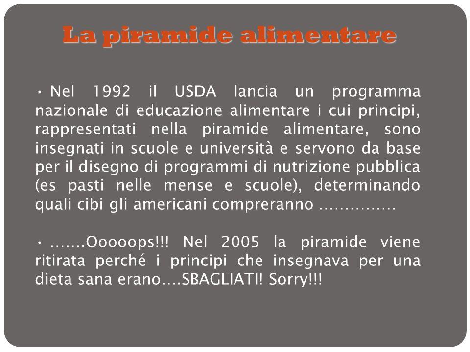Nel 1992 il USDA lancia un programma nazionale di educazione alimentare i cui principi, rappresentati nella piramide alimentare, sono insegnati in scu