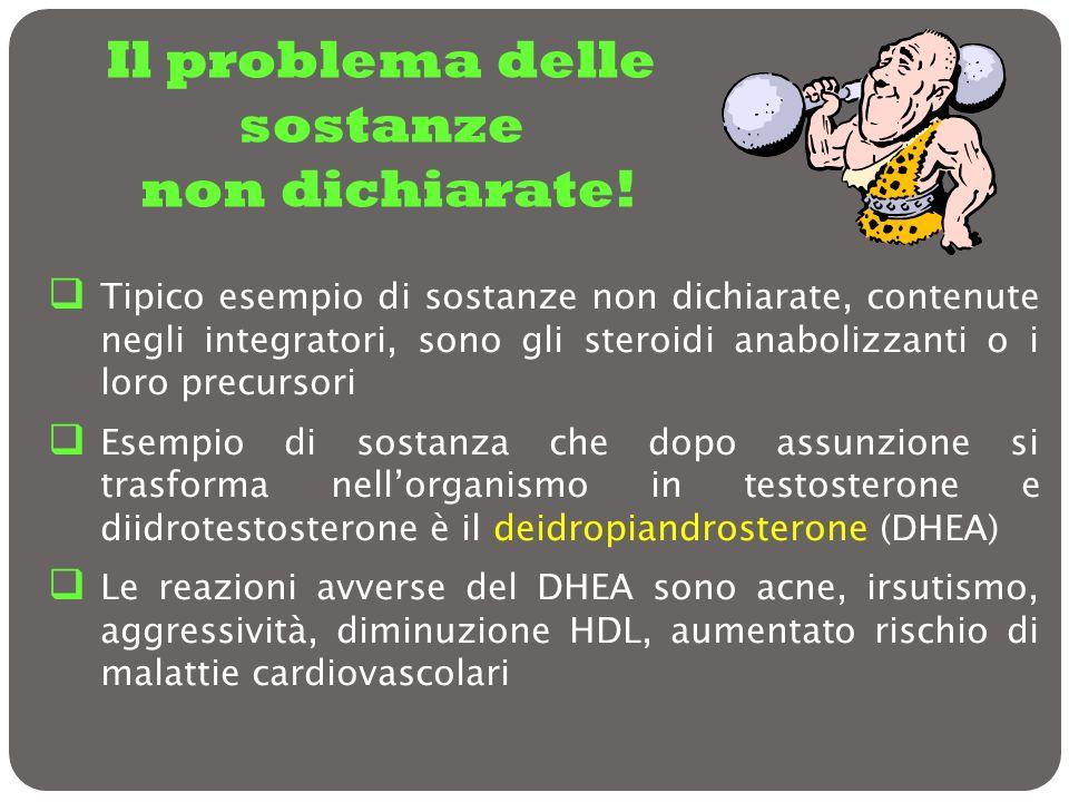 Il problema delle sostanze non dichiarate! Tipico esempio di sostanze non dichiarate, contenute negli integratori, sono gli steroidi anabolizzanti o i