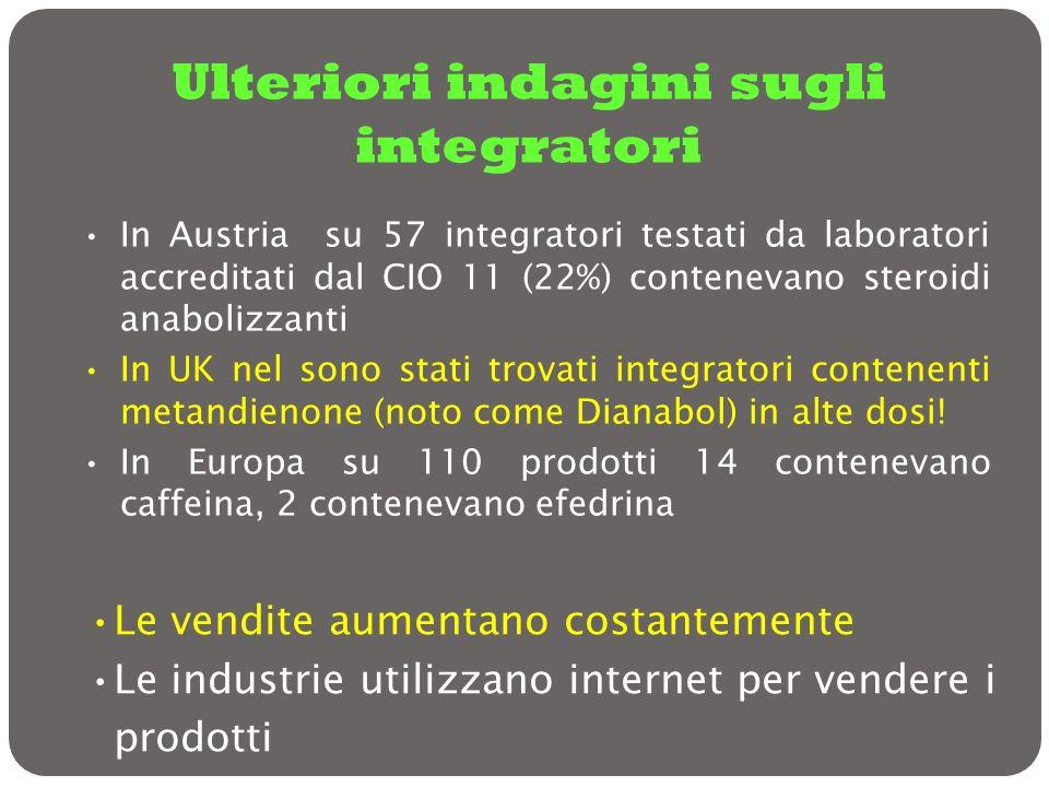 In Austria su 57 integratori testati da laboratori accreditati dal CIO 11 (22%) contenevano steroidi anabolizzanti In UK nel sono stati trovati integr