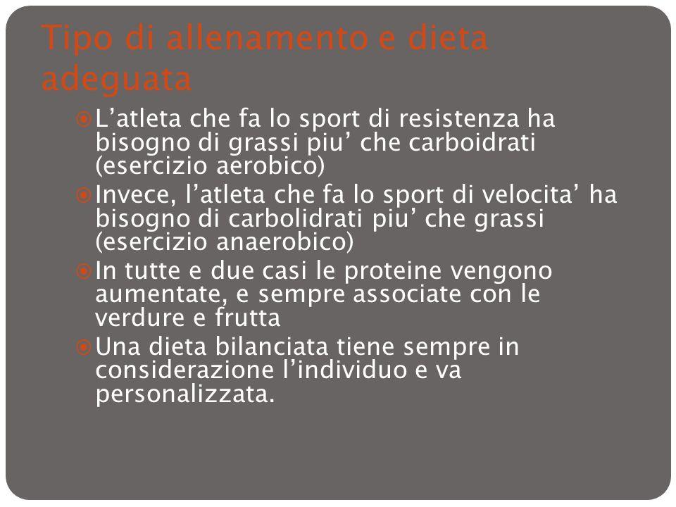 Tipo di allenamento e dieta adeguata Latleta che fa lo sport di resistenza ha bisogno di grassi piu che carboidrati (esercizio aerobico) Invece, latle