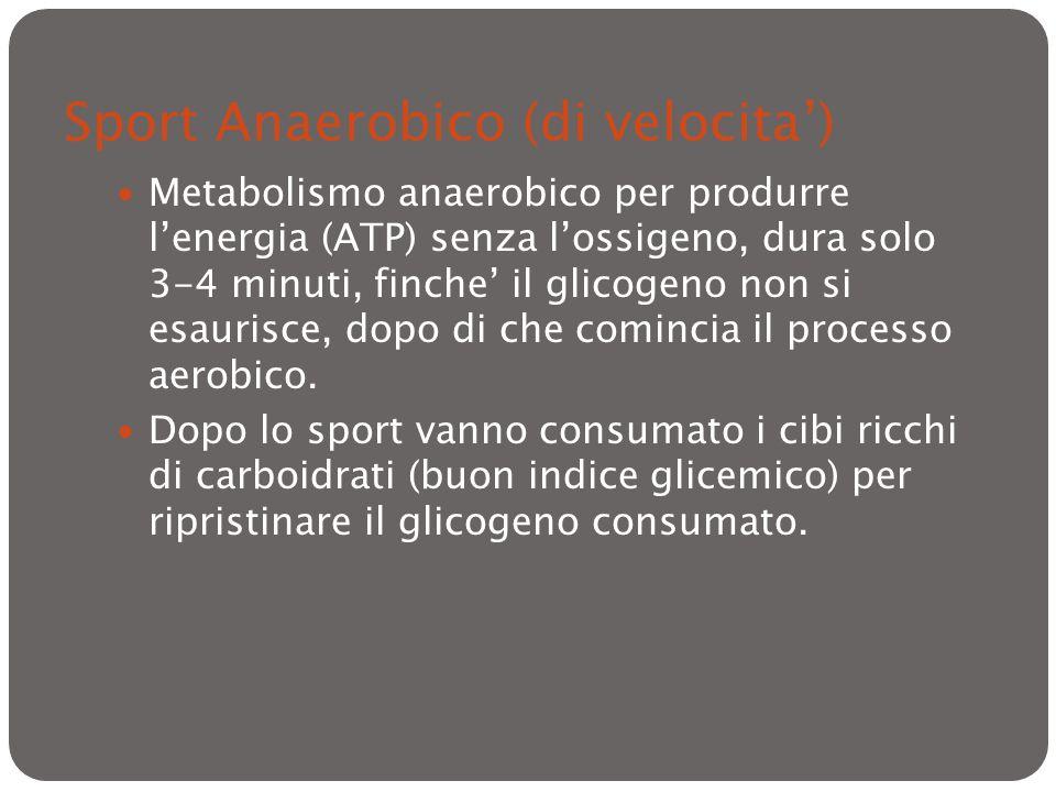 Sport Anaerobico (di velocita) Metabolismo anaerobico per produrre lenergia (ATP) senza lossigeno, dura solo 3-4 minuti, finche il glicogeno non si es