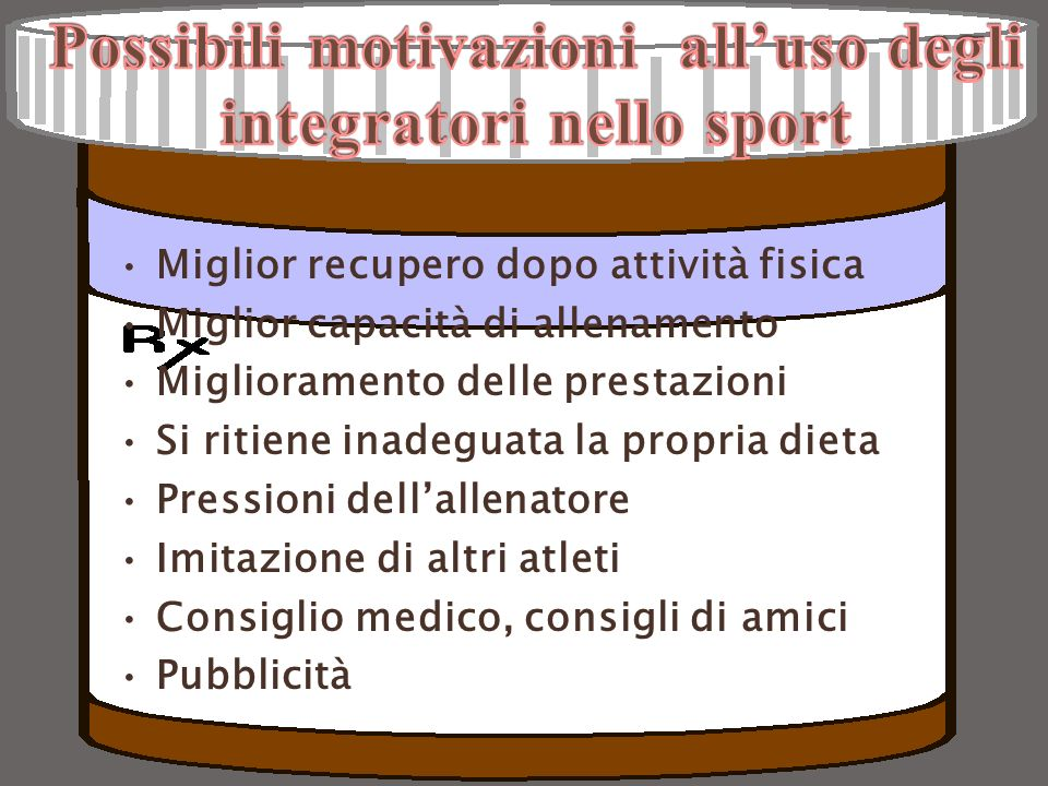 Integrazione alimentare: Fabbisogno di vitamine Non è stato dimostrato che gli atleti abbiano RDA superiori ai sedentari (gruppo B e antiossidanti: A, C, E, beta carotene).