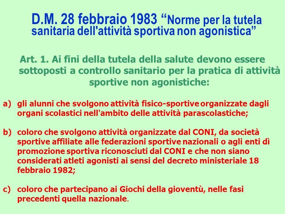 D.M. 28 febbraio 1983 Norme per la tutela sanitaria dell'attività sportiva non agonistica Art. 1. Ai fini della tutela della salute devono essere sott