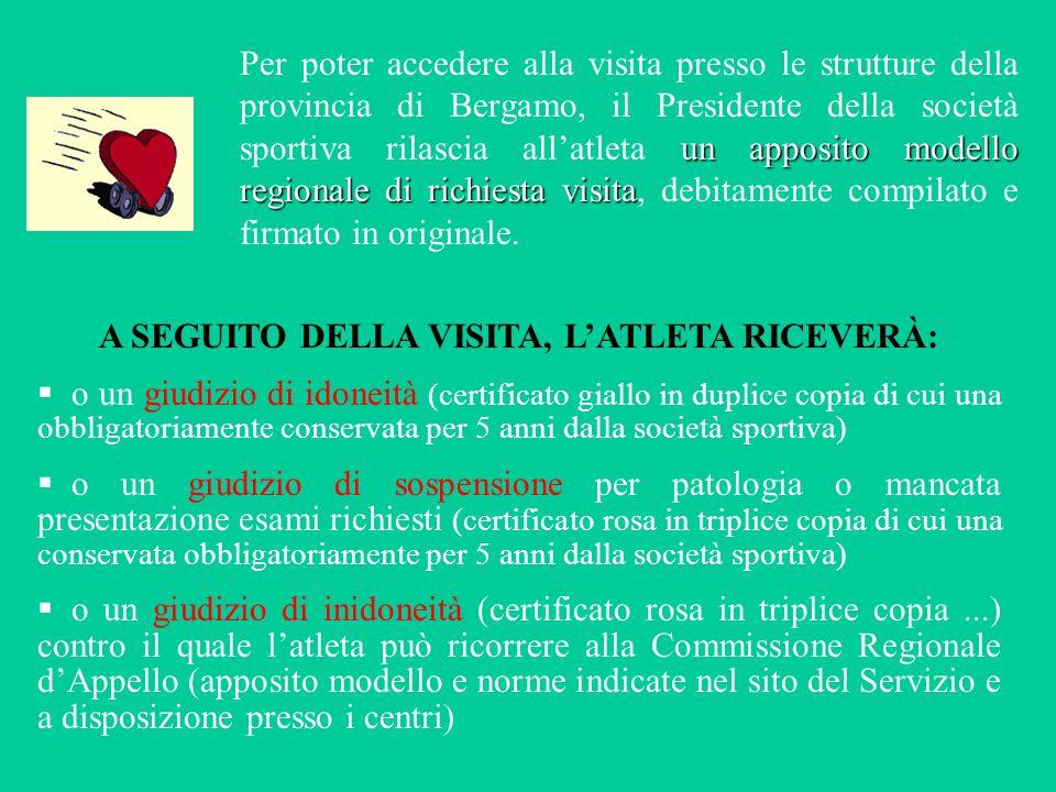 un apposito modello regionale di richiesta visita Per poter accedere alla visita presso le strutture della provincia di Bergamo, il Presidente della s