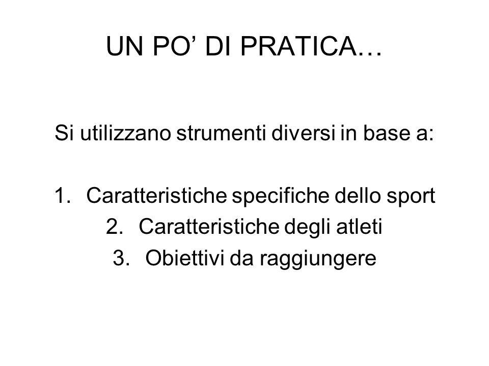 UN PO DI PRATICA… Si utilizzano strumenti diversi in base a: 1.Caratteristiche specifiche dello sport 2.Caratteristiche degli atleti 3.Obiettivi da ra