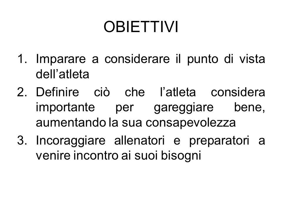 OBIETTIVI 1.Imparare a considerare il punto di vista dellatleta 2.Definire ciò che latleta considera importante per gareggiare bene, aumentando la sua